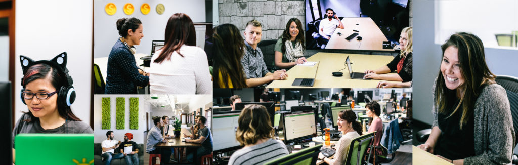 Collage of GoFundMe employees working